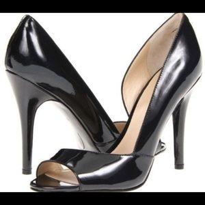 "Nine West ""Autheena"" Black Peep Toe Heels S: 7.5"